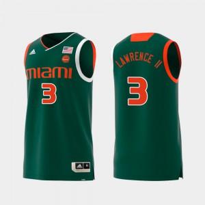 For Men Hurricanes #3 Anthony Lawrence II Green Replica Swingman College Basketball Jersey 389744-592