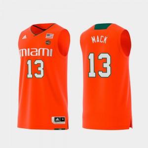 For Men's Miami #13 Anthony Mack Orange Replica Swingman College Basketball Jersey 357374-318