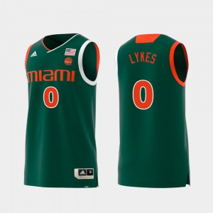 For Men's Miami Hurricane #0 Chris Lykes Green Replica Swingman College Basketball Jersey 231543-162