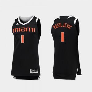 Mens Miami Hurricane #1 Dejan Vasiljevic Black White College Basketball Chase Jersey 750690-592