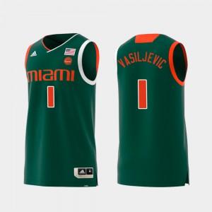 For Men Miami Hurricane #1 Dejan Vasiljevic Green Replica Swingman College Basketball Jersey 134647-236