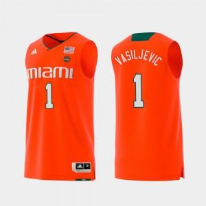 For Men's Miami Hurricanes #1 Dejan Vasiljevic Orange Replica Swingman College Basketball Jersey 748178-741
