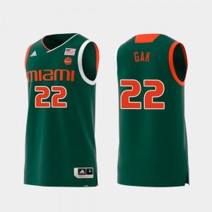 Mens UM #22 Deng Gak Green Replica Swingman College Basketball Jersey 350552-982