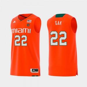 For Men Hurricanes #22 Deng Gak Orange Replica Swingman College Basketball Jersey 429858-621