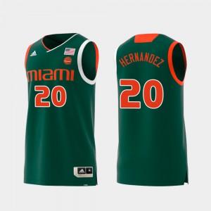 For Men's Miami #20 Dewan Hernandez Green Replica Swingman College Basketball Jersey 798848-302