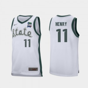 For Men's Michigan State University #11 Aaron Henry White 2019 Final-Four Retro Performance Jersey 236031-166