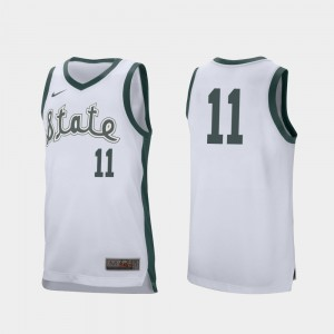Men MSU #11 Aaron Henry White Retro Performance College Basketball Jersey 667274-362