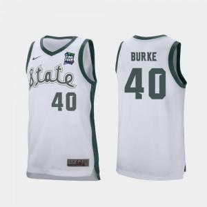 Mens Michigan State #40 Braden Burke White 2019 Final-Four Retro Performance Jersey 940368-166