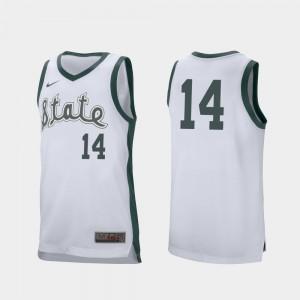 For Men Michigan State #14 Brock Washington White Retro Performance College Basketball Jersey 431689-783