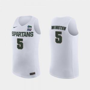 Mens Michigan State University #5 Cassius Winston White 2019 Final-Four Replica Jersey 900629-724