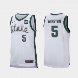 For Men's Michigan State Spartans #5 Cassius Winston White 2019 Final-Four Retro Performance Jersey 545367-895
