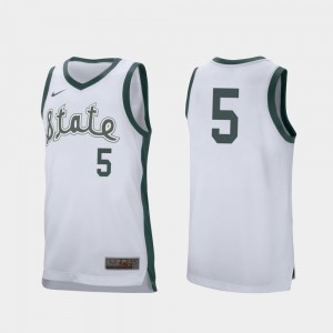 For Men Michigan State Spartans #5 Cassius Winston White Retro Performance College Basketball Jersey 534223-910