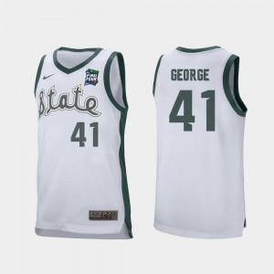 Men's MSU #41 Conner George White 2019 Final-Four Retro Performance Jersey 405017-677