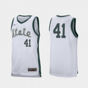 For Men Spartans #41 Conner George White Retro Performance College Basketball Jersey 416590-672
