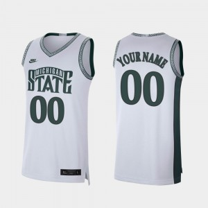 Men's Spartans #00 White Retro Limited College Basketball Customized Jersey 701633-999
