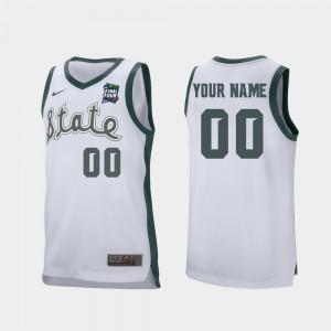 For Men's MSU #00 White 2019 Final-Four Retro Performance Customized Jerseys 670530-964