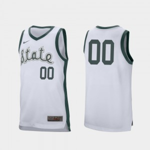 For Men Michigan State #00 White Retro Performance College Basketball Customized Jerseys 323438-170