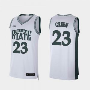 Mens MSU #23 Draymond Green White Retro Limited College Basketball Jersey 675361-518
