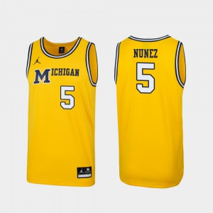 Men Michigan #5 Adrien Nunez Maize Replica 1989 Throwback College Basketball Jersey 567242-436
