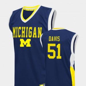 For Men University of Michigan #51 Austin Davis Blue Fadeaway College Basketball Jersey 423977-732
