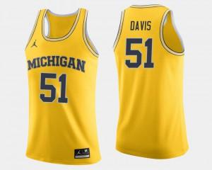 Mens Michigan #51 Austin Davis Maize College Basketball Jersey 992350-873