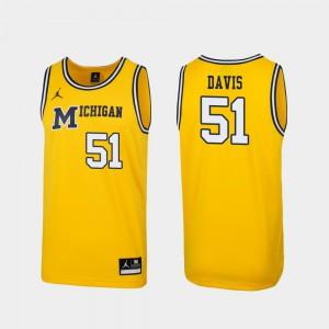 Mens U of M #51 Austin Davis Maize Replica 1989 Throwback College Basketball Jersey 272326-830