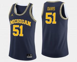 Men's Michigan Wolverines #51 Austin Davis Navy College Basketball Jersey 156810-492