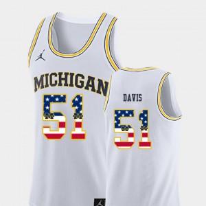 For Men Wolverines #51 Austin Davis White USA Flag College Basketball Jersey 653618-643