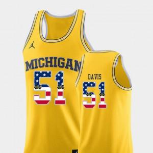 Mens Wolverines #51 Austin Davis Yellow USA Flag College Basketball Jersey 850976-357
