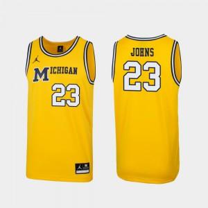 For Men University of Michigan #23 Brandon Johns Jr. Maize Replica 1989 Throwback College Basketball Jersey 605156-590