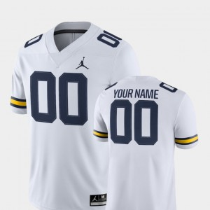 For Men Michigan #00 White College Football 2018 Game Customized Jerseys 251669-754
