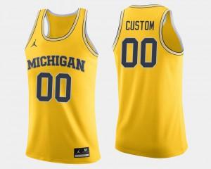 Men University of Michigan #00 Maize College Basketball Customized Jersey 502250-592