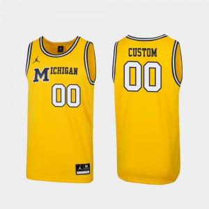 Men's University of Michigan Maize Replica #00 1989 Throwback College Basketball Customized Jersey 848820-965
