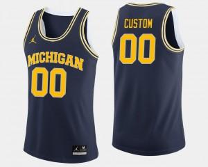 Men Michigan Wolverines #00 Navy College Basketball Customized Jerseys 144130-869