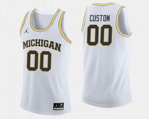 Mens Michigan #00 White College Basketball Customized Jerseys 677264-278
