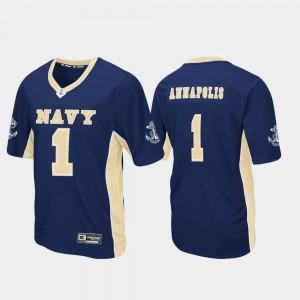 Mens Navy Midshipmen #1 Navy Max Power Football Jersey 506762-568