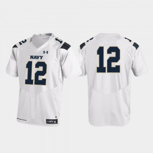 Mens Navy Midshipmen #12 White Replica College Football Jersey 124423-649