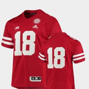 Mens Nebraska Cornhuskers #18 Scarlet College Football Premier Jersey 537162-841