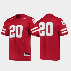 Mens University of Nebraska #20 Scarlet Premier Football Jersey 818390-463