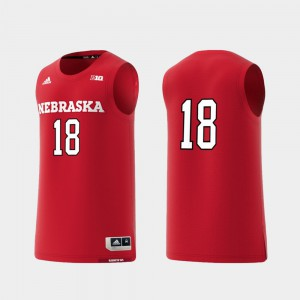 Men's University of Nebraska #18 Scarlet Basketball Swingman College Replica Jersey 282206-742