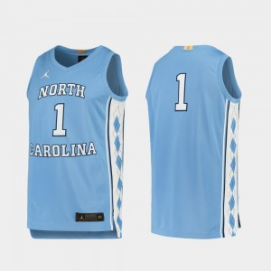 For Men's North Carolina #1 Carolina Blue Limited College Basketball Jersey 271419-704