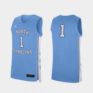 Men's Tar Heels #1 Carolina Blue Replica College Basketball Jersey 924182-939
