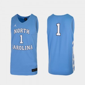 For Men's UNC #1 Carolina Blue Replica College Basketball Jersey 438206-754