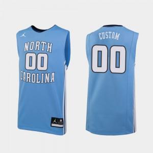 Mens North Carolina Tar Heels #00 Carolina Blue Replica College Basketball Customized Jersey 166362-650
