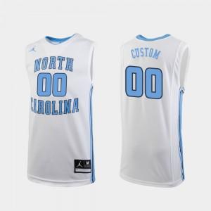 For Men's North Carolina Tar Heels #00 White Replica College Basketball Custom Jersey 717127-626