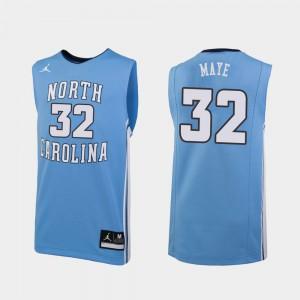 Men's North Carolina #32 Luke Maye Carolina Blue Replica College Basketball Jersey 840968-373