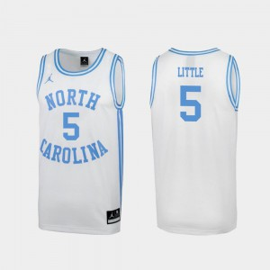 For Men's UNC Tar Heels #5 Nassir Little White March Madness Special College Basketball Jersey 151272-362