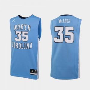 For Men UNC #35 Ryan McAdoo Carolina Blue Replica College Basketball Jersey 266595-204