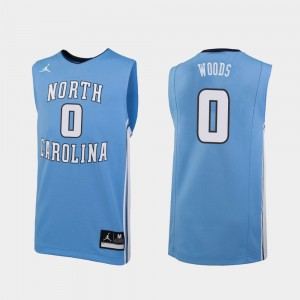 Mens UNC #0 Seventh Woods Carolina Blue Replica College Basketball Jersey 449908-395