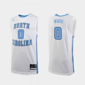 Men UNC Tar Heels #0 Seventh Woods White Replica College Basketball Jersey 900811-505